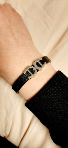 Aigner Leather Bracelet black-silver-colored