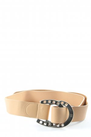 Aigner Faux Leather Belt nude-silver-colored themed print casual look