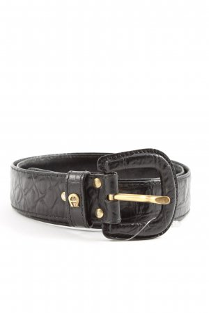 Aigner Faux Leather Belt black-gold-colored casual look