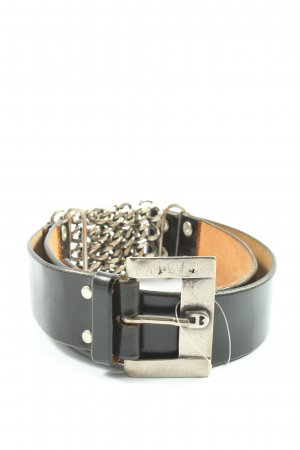 Aigner Faux Leather Belt black-silver-colored casual look