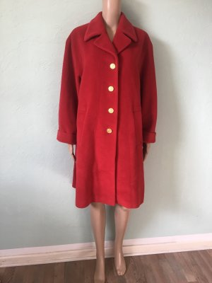 Aigner Mantel Wolle Angoora Rot Gold Flauschig Oversized