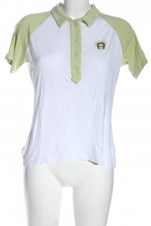 Aigner Polo Shirt white-green printed lettering casual look