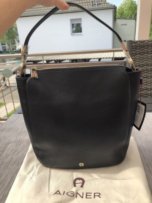 Aigner Hobos black-gold-colored leather