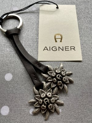 Aigner Key Chain dark brown-silver-colored