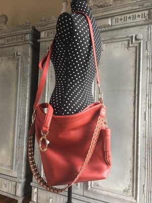 Aigner Shopper brick red-gold-colored leather