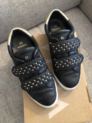 Aigner Zapatos de patinador negro-color oro
