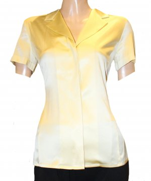 AIGNER Sommer Bluse gelb Seide Stretch kurzarm Gr. 36/38