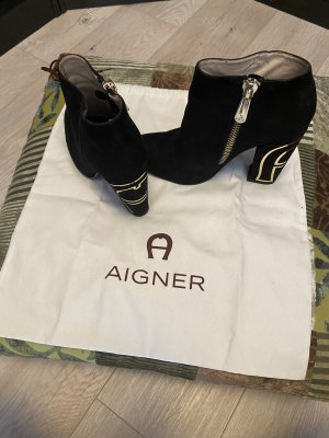 Aigner Zipper Booties black-gold-colored
