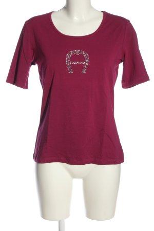 Aigner T-shirts en mailles tricotées rouge lettrage imprimé
