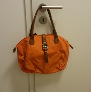 AIGNER Tache Stoff Leder orange braun mittelgroß