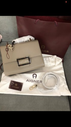 Aigner Crossbody bag grey brown-gold-colored