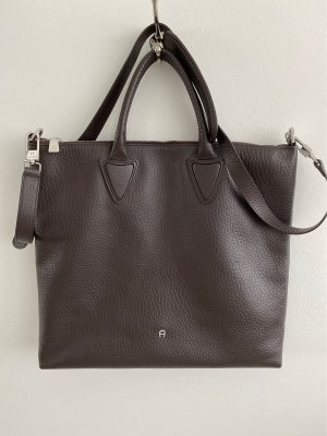 Aigner Crossbody bag dark brown-silver-colored leather