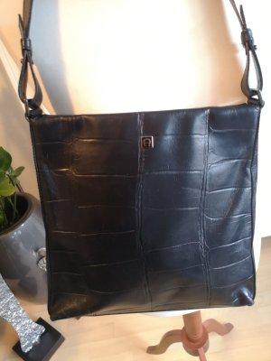 Aigner Tasche schwarz geprägtes Leder