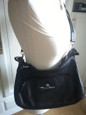 Aigner Handbag black-silver-colored leather