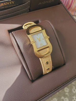 Aigner Watch With Leather Strap bronze-colored-gold-colored