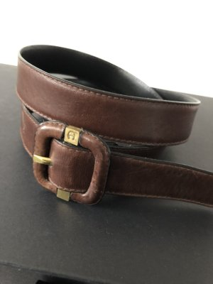 Aigner Leather Belt black brown leather