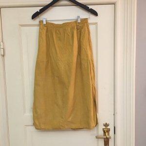 Aigner Midi Skirt dark yellow leather