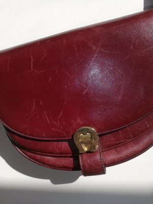 Aigner Shoulder Bag gold-colored-bordeaux leather