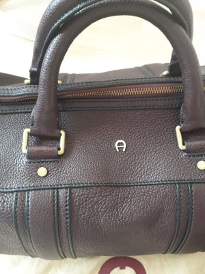 Aigner Weekender Bag brown red leather