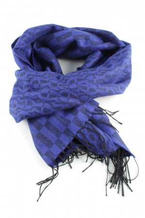 Aigner Wollschal blau-schwarz grafisches Muster Casual-Look