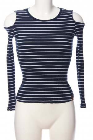 AIKI KEYLOOK Long Sleeve Blouse blue-white striped pattern casual look