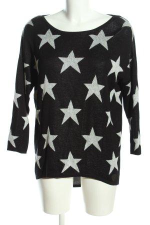 AIKI KEYLOOK Sweter z okrągłym dekoltem czarny-biały Na całej powierzchni