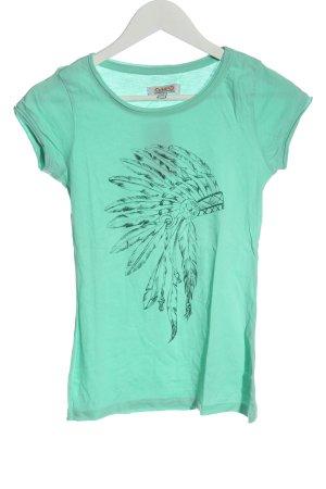 Aiki T-shirt turquoise imprimé avec thème style décontracté
