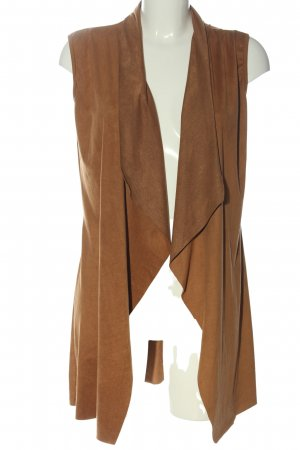 aikio Gilet long tricoté brun style décontracté