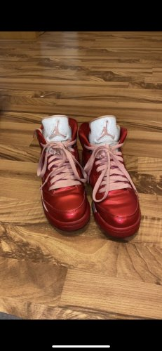 Air Jordan Lace-Up Sneaker silver-colored-raspberry-red