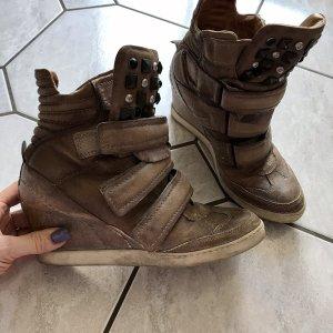 Air Step Heel Sneakers grey brown leather