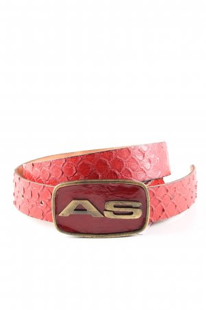 Air Step Ceinture en cuir rouge motif animal style extravagant