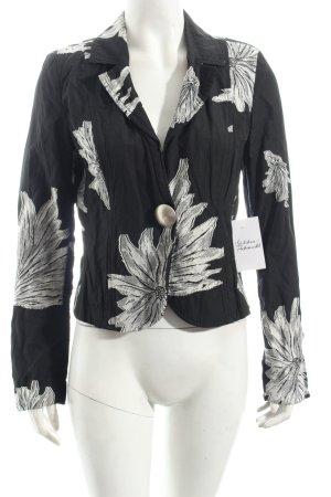 Airfield Blazer schwarz-weiß florales Muster extravaganter Stil