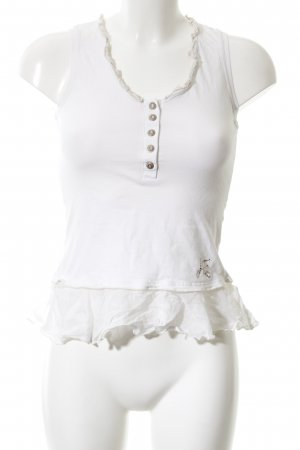 Airfield Blouse topje wit-licht beige casual uitstraling