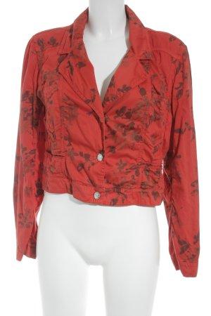 Airfield Kurz-Blazer rot-dunkelrot florales Muster Casual-Look