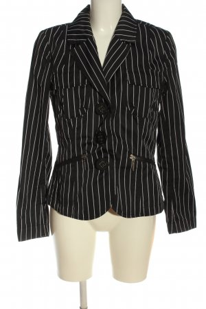 Airfield Korte blazer zwart-wit gestreept patroon zakelijke stijl