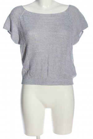 Airfield Short Sleeve Sweater light grey cable stitch casual look