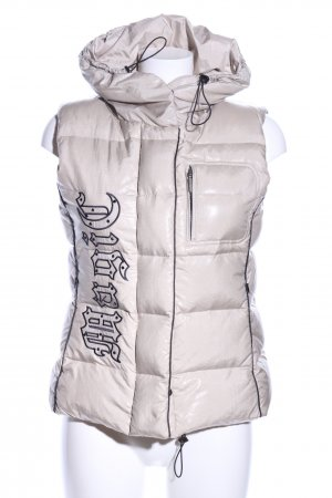 Airfield Quilted Gilet natural white printed lettering casual look