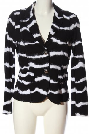 Airfield Knitted Blazer black-white striped pattern casual look