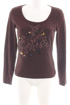 Airfield Sweatshirt brun motif de fleur style décontracté