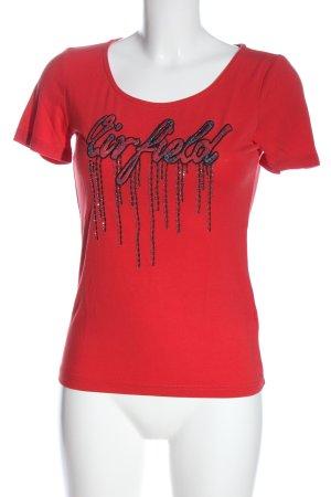 Airfield T-shirt rood geborduurde letters casual uitstraling