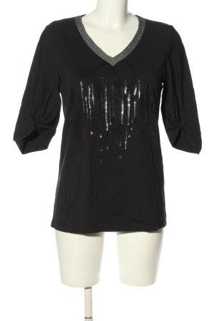 Airfield V-Ausschnitt-Shirt schwarz-silberfarben Casual-Look