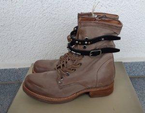 A.S.98 Bottes à lacets gris brun cuir