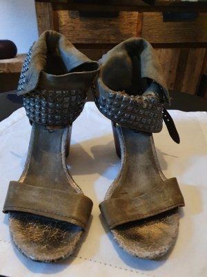 Air Step Sandalen met bandjes grijs-bruin-bruin Leer