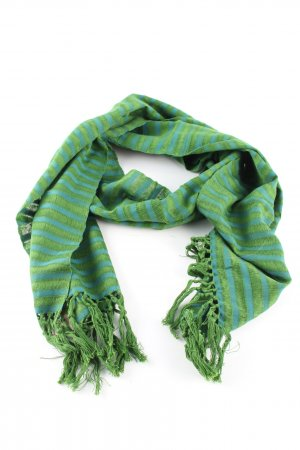 Neckerchief green-turquoise striped pattern casual look