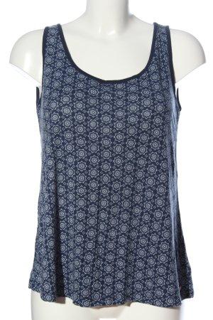 AJC Blusa senza maniche blu-bianco motivo astratto stile casual