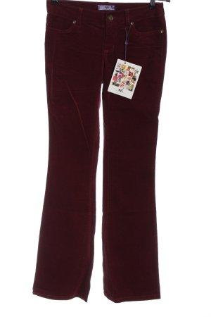 AJC Pantalone di velluto a coste rosso stile casual