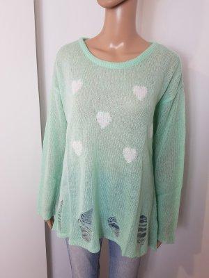 AJC Sweter z dzianiny biały-miętowy Poliakryl