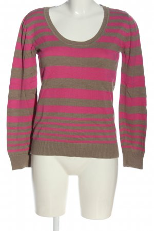 AJC Fine Knit Jumper brown-pink striped pattern casual look