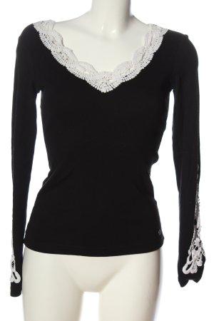 AJC Grobstrickpullover schwarz-weiß abstraktes Muster Casual-Look