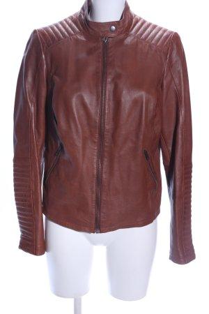 AJC Veste en cuir brun motif de courtepointe style décontracté